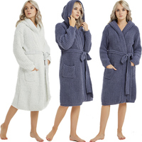 Women Warm Bathrobe Winter Thick Thermal Bath Robe Nightgowns Knitted Open Kimono Hooded Gown Peignoir Casual Loungewear Leisure