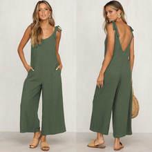 2020 summer new women casual loose linen cotton jumpsuit sleeveless