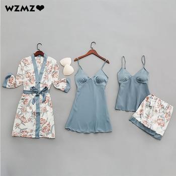 4 piezas de juegos de imitación de seda Pijamas mujeres Sexy vestido de noche sin mangas con reunir almohadillas para el pecho imprimir pantalones cortos traje para casa Dropshipping. Exclusivo.
