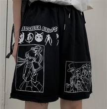Verão panelas streetwear desenhos animados comic sailor moon letras imprimir cintura alta shorts casual solto elástico cintura reta shorts