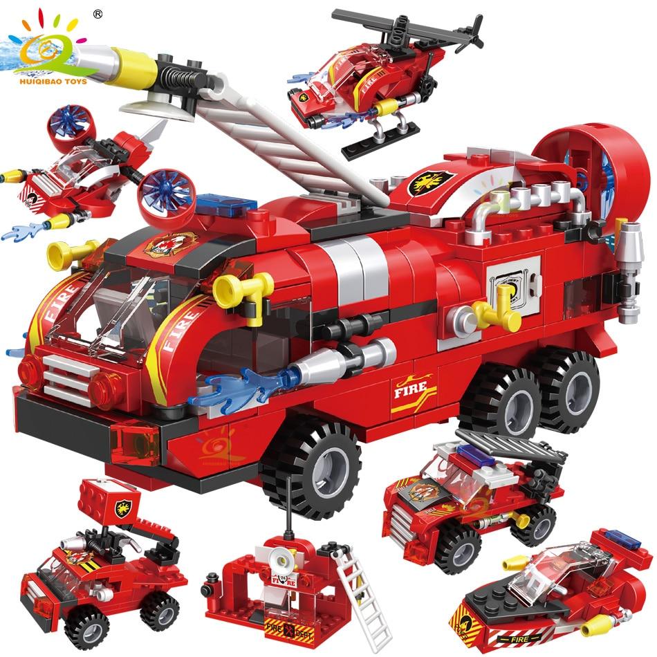 HUIQIBAO – Camion de pompiers en blocs de construction pour enfant, jouet, voiture, hélicoptère, bateau et figurines, 6 en 1, 387 pièces