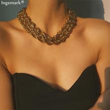 Exaggerated Punk Chunky Chain Choker Necklace Collar Statement  Female Accessories Collier Femme 2019 New Fashion Multi Layer Gold Color Rock Twist Iron Chain Necklace Women Dark Festival Jewelry punk multi layer love lock choker necklace collar gothic padlock pendant pu link chunky chain necklace for women fashion jewelry