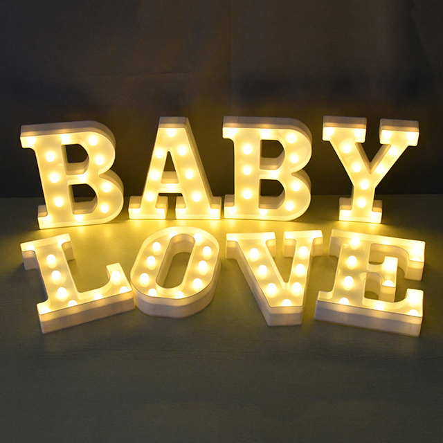 LED English Letter Night Light Alphabet Battery Marquee Sign Number Lamp Indoor Home Culb DIY Wedding Birthday Party Decoration 5