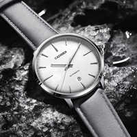CADISEN-Relojes mecánicos automáticos para Hombre, MIYOTA 8215, reloj de cuero informal, reloj de negocios impermeable, Retro, masculino