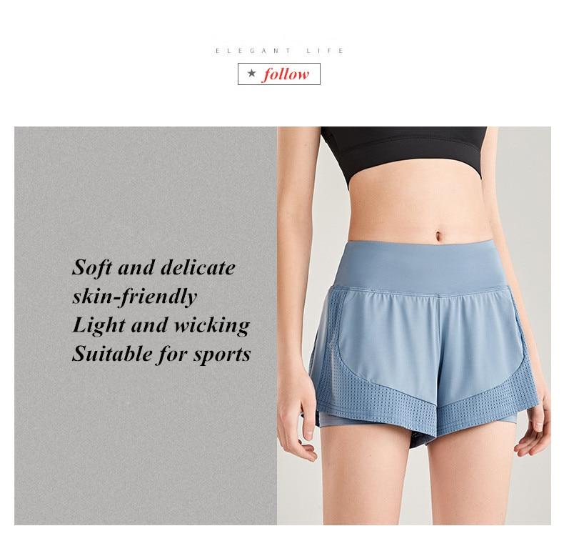Shorts Women Workout Shorts High Waisted Running Shorts Double Layer Quick-drying Athletic Yoga Shorts Fitness Shorts (19)
