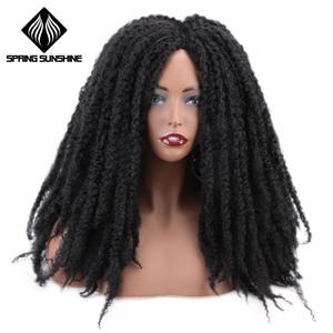 Image 1 - 18Inch Synthetische Afro Kinky Straight Pruiken Natuurlijke Zwart Marley Vlechten Pruik Voor Vrouwen