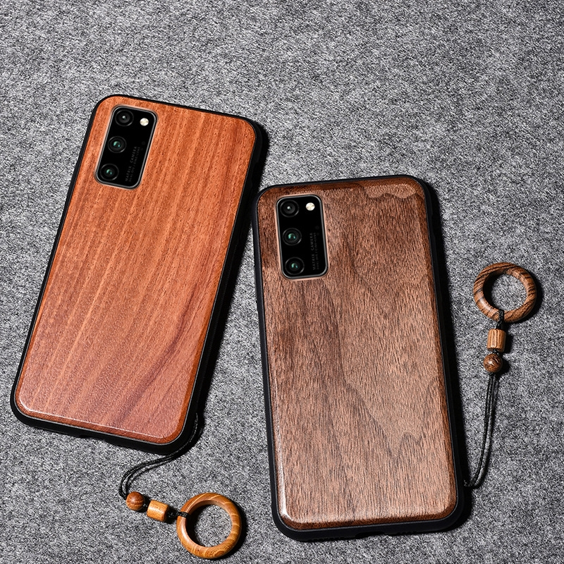 Real Wooden Hard Shockproof Back Phone Cover with Wood Lanyard for Samsung Galaxy S20 Ultra