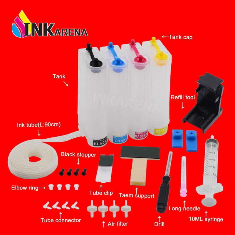 INKARENA Continuous Ink Supply System Replacement For HP122 122XL Cartridge Deskjet 1000 1050 1050A 1510 2050 2050A 3050 3050A