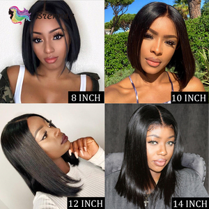 Image 5 - Straight Short Bob part lace Wig natural color 13x1 wig Brazilian Remy human hair wigs glueless wigs with Baby Hair For Women