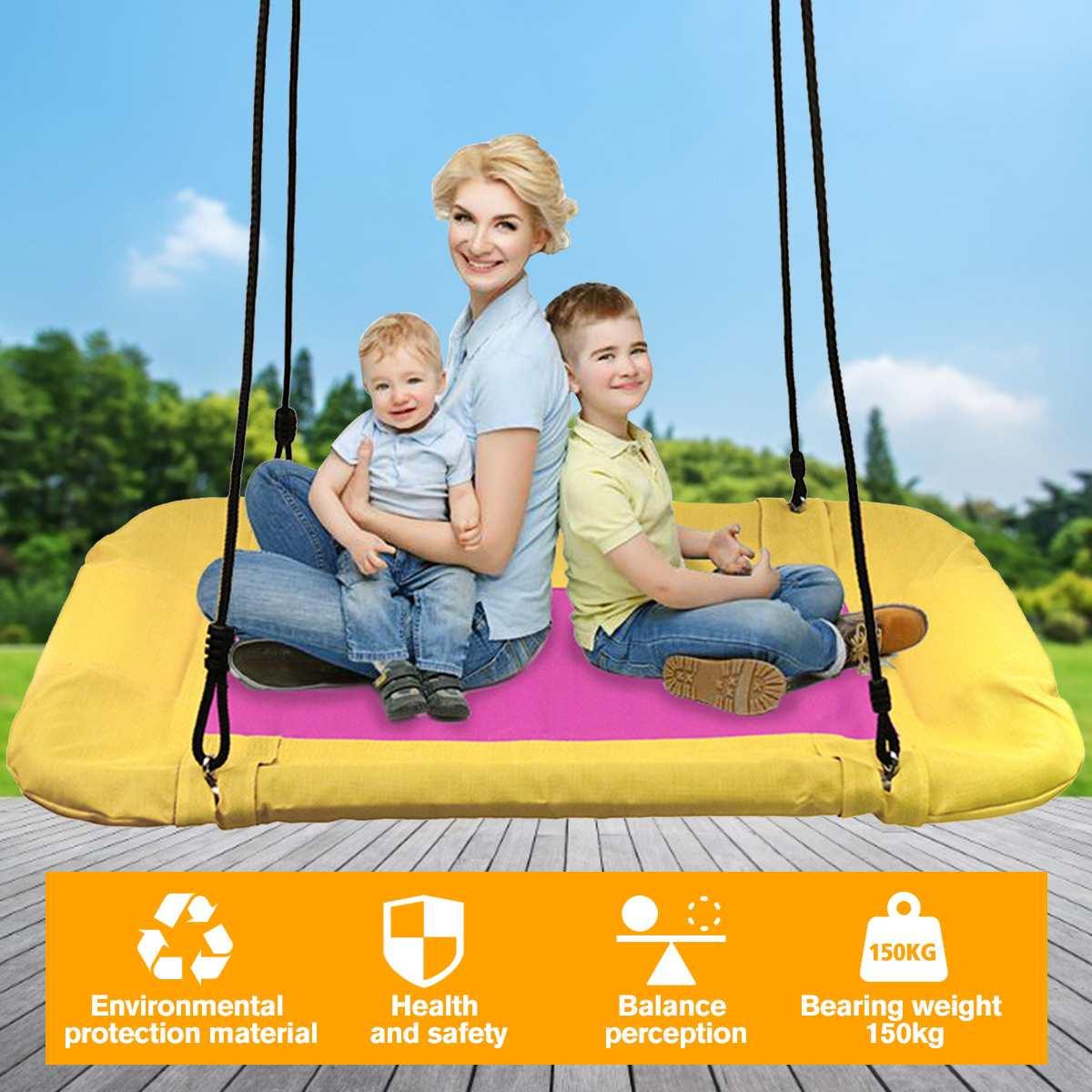 150kg Load Toy Swings Hammock Hanging Chair Rocking Seat Children Cradle Garden Swing Kids Big Square Swing Indoor Outdoor Gear