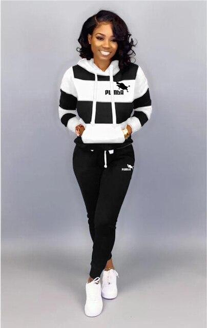 Winter Tracksuit Women 2 Piece Set Sweatshirt Print Hoodies+Pants Sportwear Women's Sports Suit Female Hooded Set Hoodies Suit 1