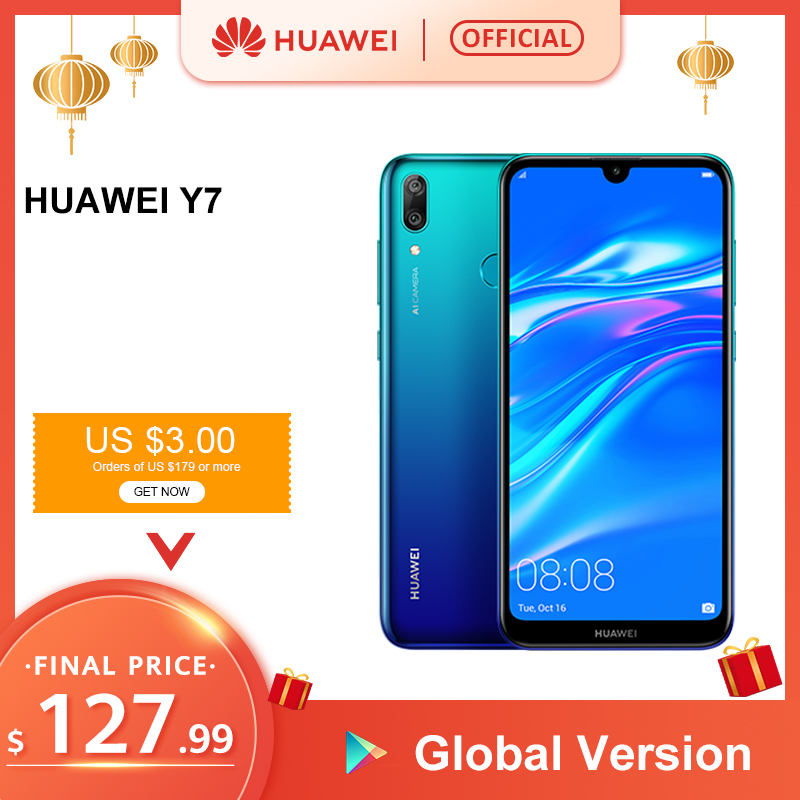 Global Version HUAWEI Y7 2019 Smartphone 3GB 32GB 4000mAh 6.26 Inch Face ID Unlock Dual AI Camera Snapdragon 450 Android Phone