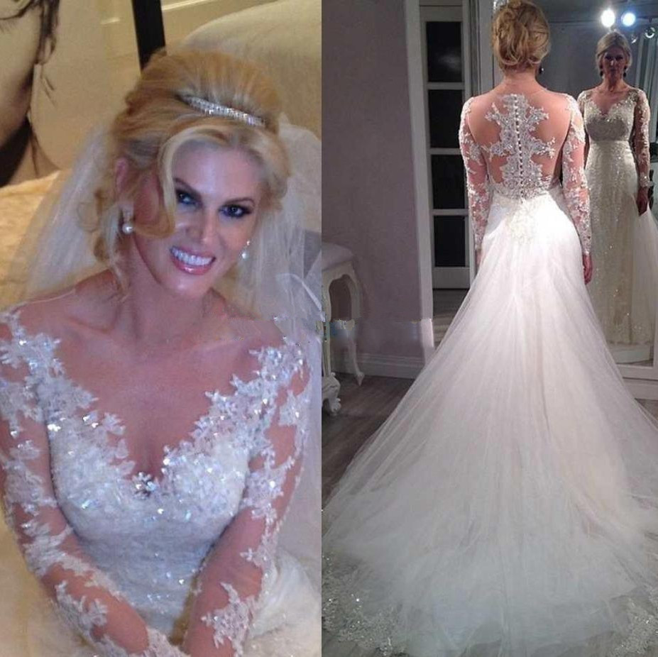 Long Sleeve Lace Wedding Dress Sexy V-Neck Bridal Gowns 2015 Vestido De Novia Appliques Court Train A-line Beading Wedding Gowns