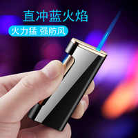 New Side Side Press Ignition Butane Gas Lighter Inflatable Torch Turbo fire starter Personality Windproof Cigar Lighter Metal
