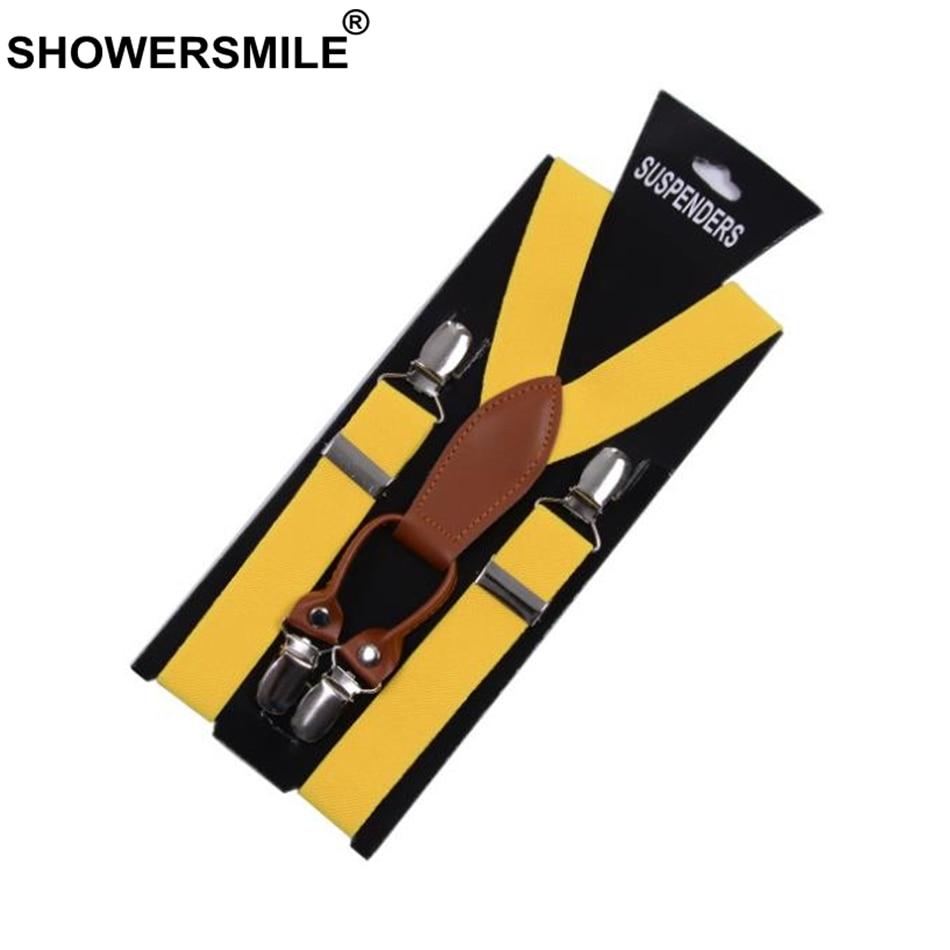 SHOWERSMILE Suspenders Women Leather Alloy 4 Clip Suspender Yellow Tirantes Female Braces Adult Suspensorios Trousers Strap