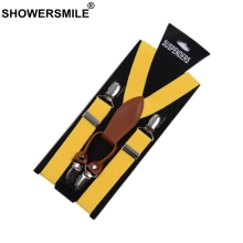 SHOWERSMILE Suspenders Women Leather Alloy 4 Clip Suspender Yellow Tirantes Female Braces Adult Suspensorios Trousers Strap