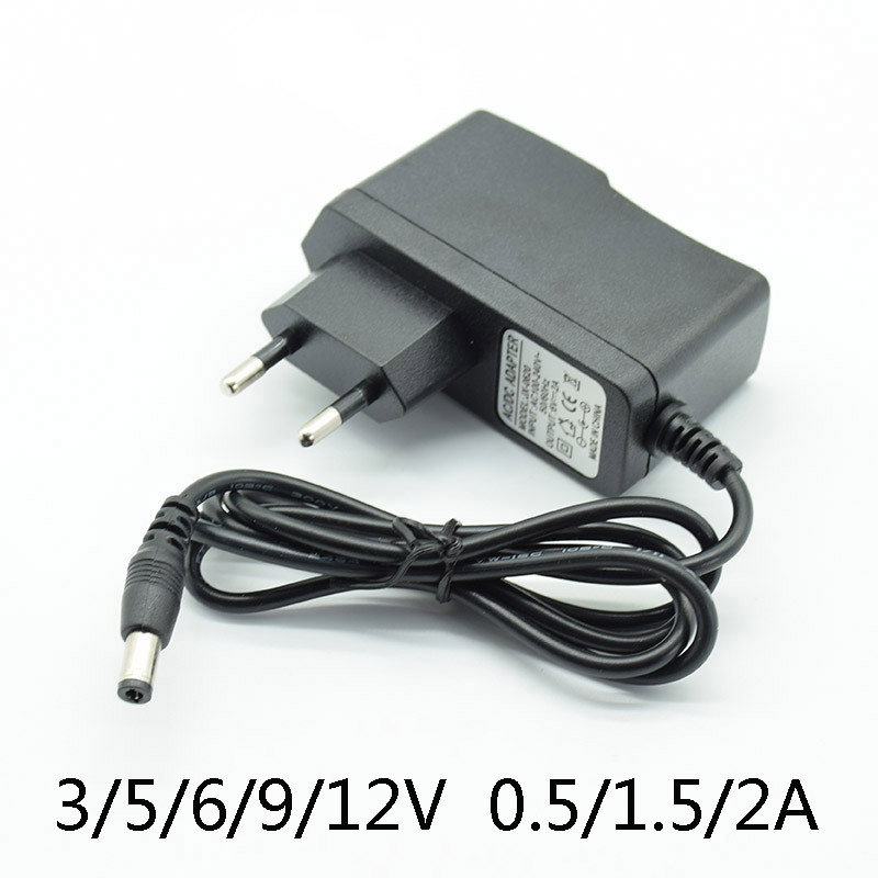 DC 3V2A 5V2A 6V 2A 9V <font><b>12V</b></font> 0.5A 500mA Power Supply <font><b>Charger</b></font> EU Plug 5.5mm * 2.5mm(2.1mm) AC to DC With lamp AC Converter Adapter image