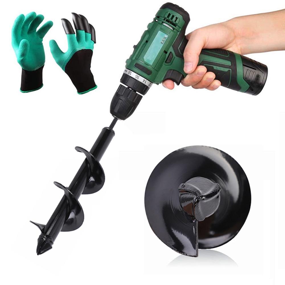 Auger Drill Bit Spiral Garden Planting For Flower Drill Hex Shank Auger For Digging Holes Garden Flower Bulb Auger With Gloves