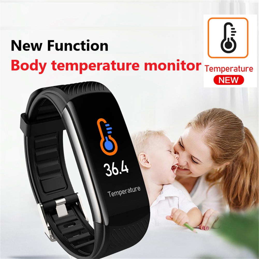 Smart Bracelet With Temperature Immune Measure Fitness Bracelet ECG Heart Rate Blood Pressure Monitoring Call Reminder IP67 New