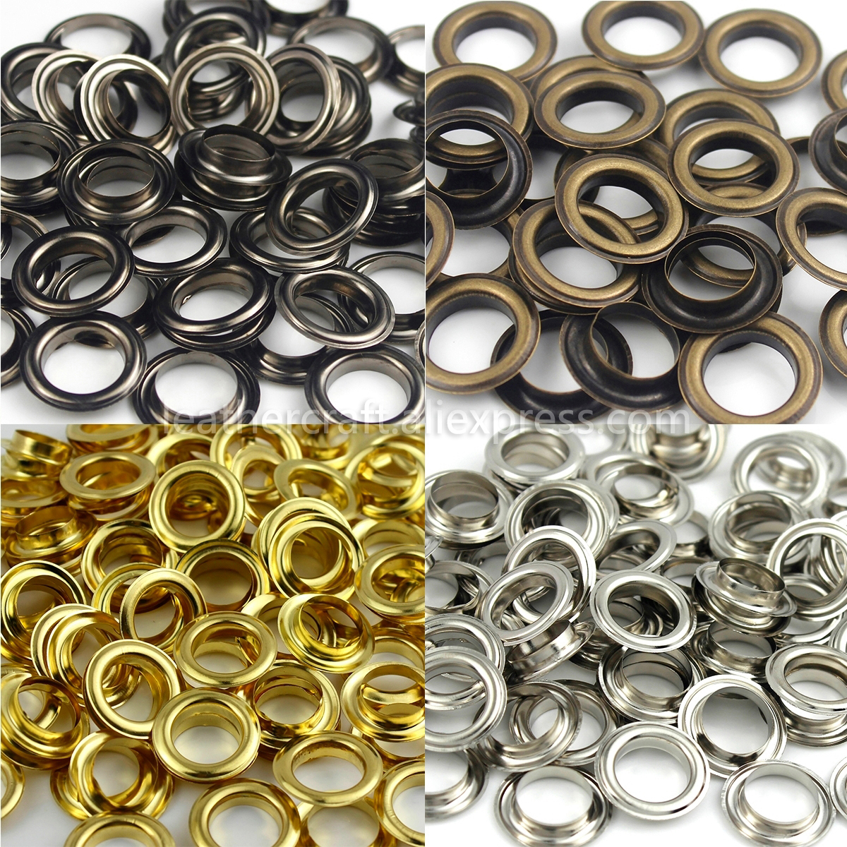 100pcs 8mm Iron Eyelet Grommets Silver Tone w Washers for Clothes Leather
