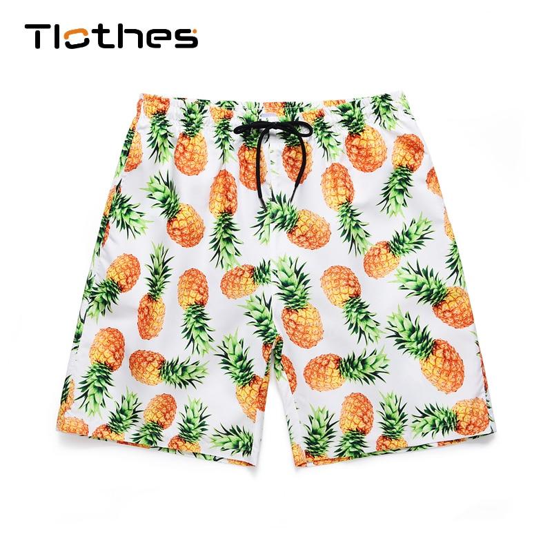 Pineapple Print Hawaiian Shorts Men Streetwear Elastic Waist Summer Shorts Men Beach Casual Sport Brand Shorts With Safety Pants