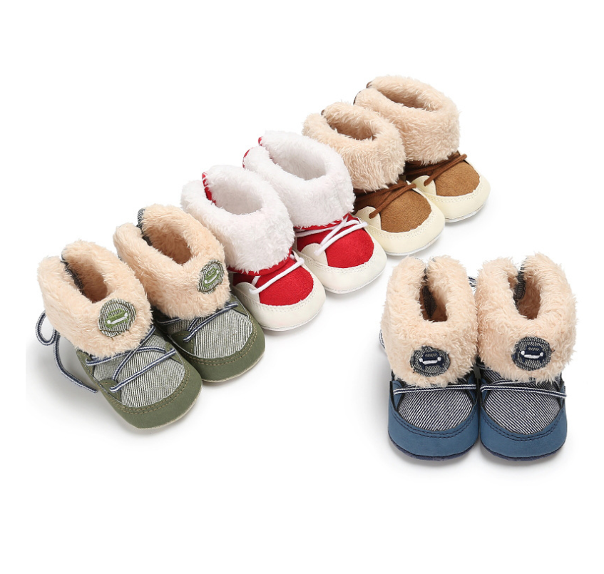 Baby Snow Boots Girls Boys Shoes Soft Sole 0-18 Months Anti-Slip Warm Winter Infant Prewalker Toddler Booties Socks