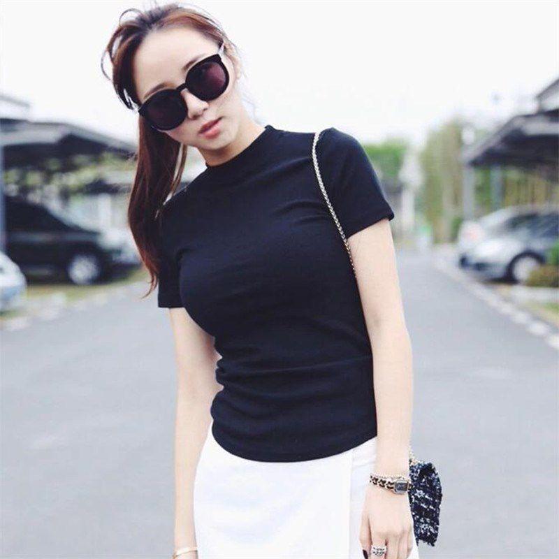 Women Solid Black T-Shirt Slim Short Sleeve T-Shirts Ladies Basic Tee Tops Turtleneck Summer Tshirt 2020 3