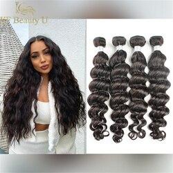 30 polegadas pacotes de cabelo indiano onda solta tecer cabelo humano 3/4 pçs remy extensões de cabelo para preto mulheres costurar no cabelo