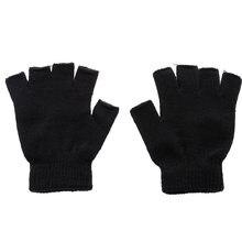 Nowych mężczyzna czarny dzianiny rękawiczki bez palców rękawiczki jesień zima na zewnątrz Stretch elastyczne ciepłe pół palca rękawiczki rowerowe