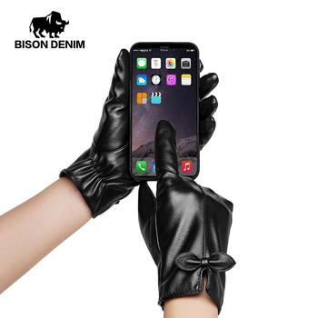 BISON DENIM damskie rękawiczki PU skórzane zimowe ciepłe zagęścić Fluff kobieta miękkie dla pań dziewczyna ręcznie wysokiej jakości rękawiczki 1 para S021 tanie i dobre opinie Kobiety Synthetic Leather Dla dorosłych Stałe Elbow Moda PU Leather M L XL