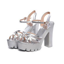 plus size 34-43 high-heeled Shoes Sandals square heel 13cm high-heeled Sexy Party dress Sandals Platform Dancing Shoes Summer plus size beautiful dress high heels 13cm sexy crystal platforms pole sandals rhinestone straps wedding shoes