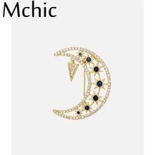 Mchic CZ Zirconia Moon Stars Brooches Pin Golden Charm Broche Femme Bijoux De Luxe Copper Fashion Jewelry Scarf Accessory