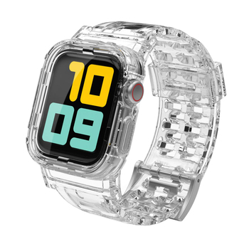 Transparent Strap for apple watch band 44mm/42mm silicone bracelet+Protective case watchband for iwatch apple watch 6/5/4/3/2/1