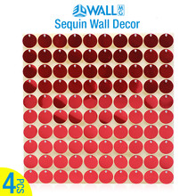 4 Pcs/lot 30x30cm 3D Sequin wall 3D Art Wall Stickers sequins 3D wall panel mirror wall cloth paint house party decor brand logo(China)