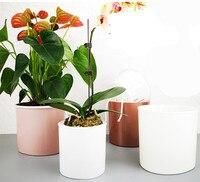 Metallic Gefühl Automatische Selbst Bewässerung Blume Pflanzen Topf Setzen In Boden Bewässerung Für Garten Indoor Hause Dekoration Garten Flo