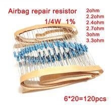1/4W 1% metal film resistance Car Airbag repair resistor 2ohm 2.2ohm 2.4ohm 2.7ohm 3ohm 3.3ohm 6 types of Electronics  kit