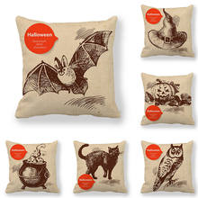 45cm*45cm Cushion cover Halloween Magic Items Design linen/cotton pillow case sofa and Home decorative pillow cover elephant girl and tree nature landscape design sofa pillow case
