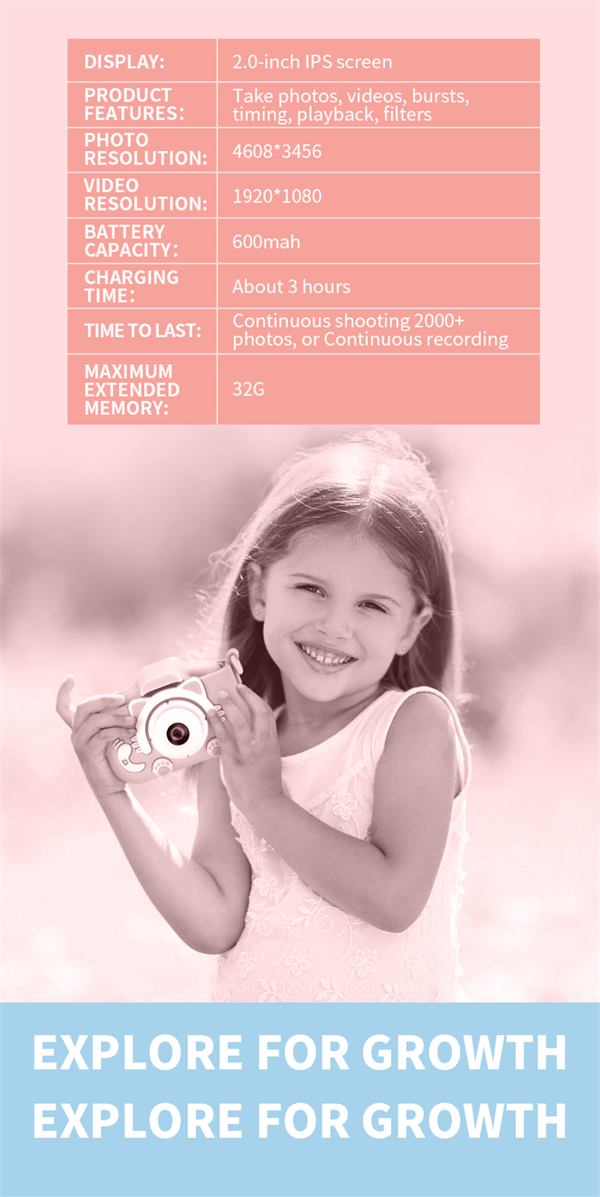 H1c6c9f04a5b44d29b2c0276f51598a11A x8 2.0 inch Screen Kids Camera Mini Digital 12MP Photo Children Camera with 600 mAh Polymer Lithium Battery Toys Gift