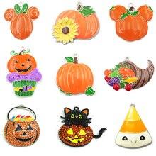 Série Halloween 2 de produits, 10 pièces/sachet: strass/sorcière/émail, cupcakes, fantômes, panier de citrouille, pendentif chat