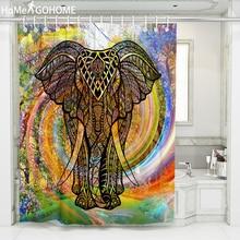 цена на African Shower Curtain Elephant 3D Waterproof Fabric Bathroom Curtain Bath Curtains Rainbow Forest Art douchegordijn landschap