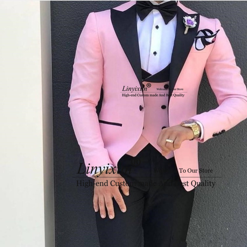 Image 2 - Green With Black Lapel Suits for Men Custom Made Terno Slim Groom Custom 3 Piece Wedding Mens Suit Masculino(Jacket+Pant+Vest)-in Suits from Men's Clothing