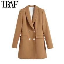 TRAFIC Femmes Mode à Double Boutonnage Manteau de Blazer Vintage Manches Longues Poches Vêtements De Dessus Pour Femmes Chic Veste Femme