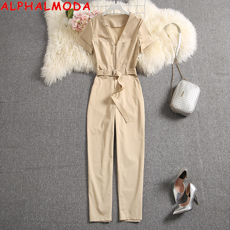 ALPHALMODA 2020 Summer Women Short-sleeved Fashion Jumpsuits Pocket Zipper Slim Fit Ladies Trendy Casual Jumpsuits Rompers