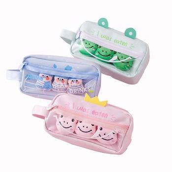 Canvas PVC cute pencil case for kids kawaii large capacity pencil bag school supplies cartoon plush badge pencil box stationary