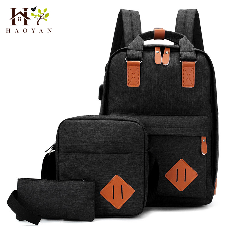 HAOYAN Nylon Men's 15.6 Inch Laptop Backpack Large-capacity 3Pcs/Set Travel Backpack Student Backpack Bag