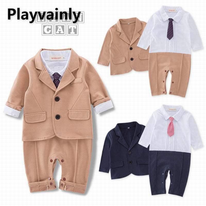 Wholesale 2021  Baby Boy Sets cotton Long Sleeve Romper+ suit jacket 2 Piece Suit Boy Clothes E16791