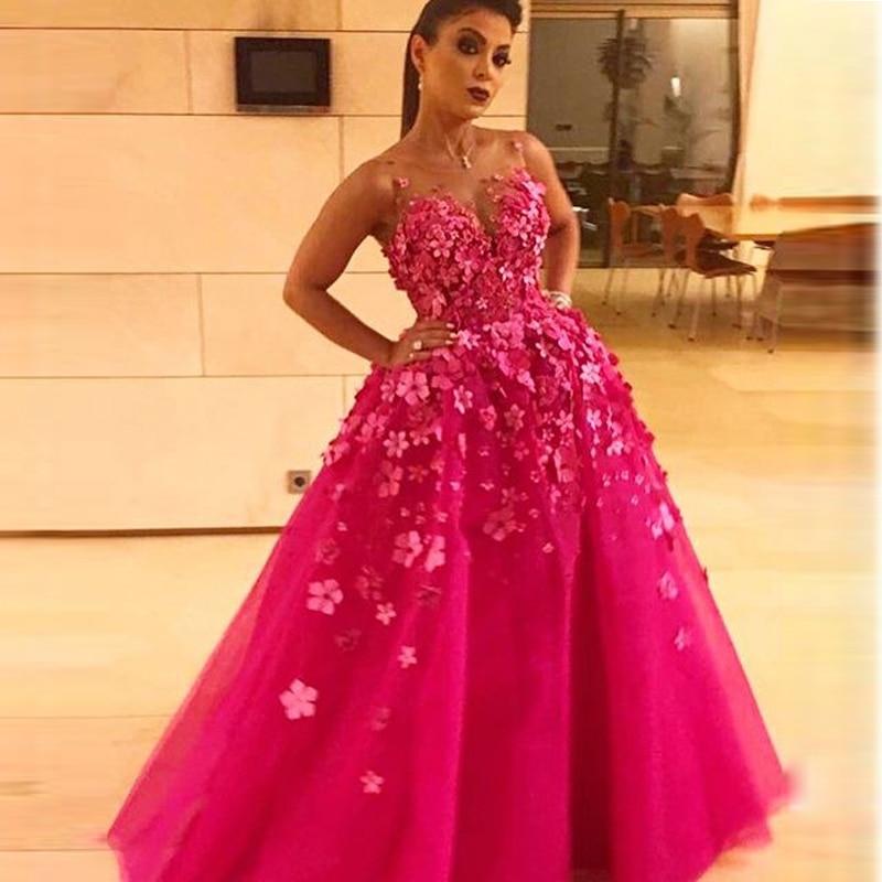 Pink Formal 3D Flowers Custom Made Party Gown 2018 Abiye Gece Elbisesi Prom Vestidos De Noiva Formatura Bridesmaid Dresses