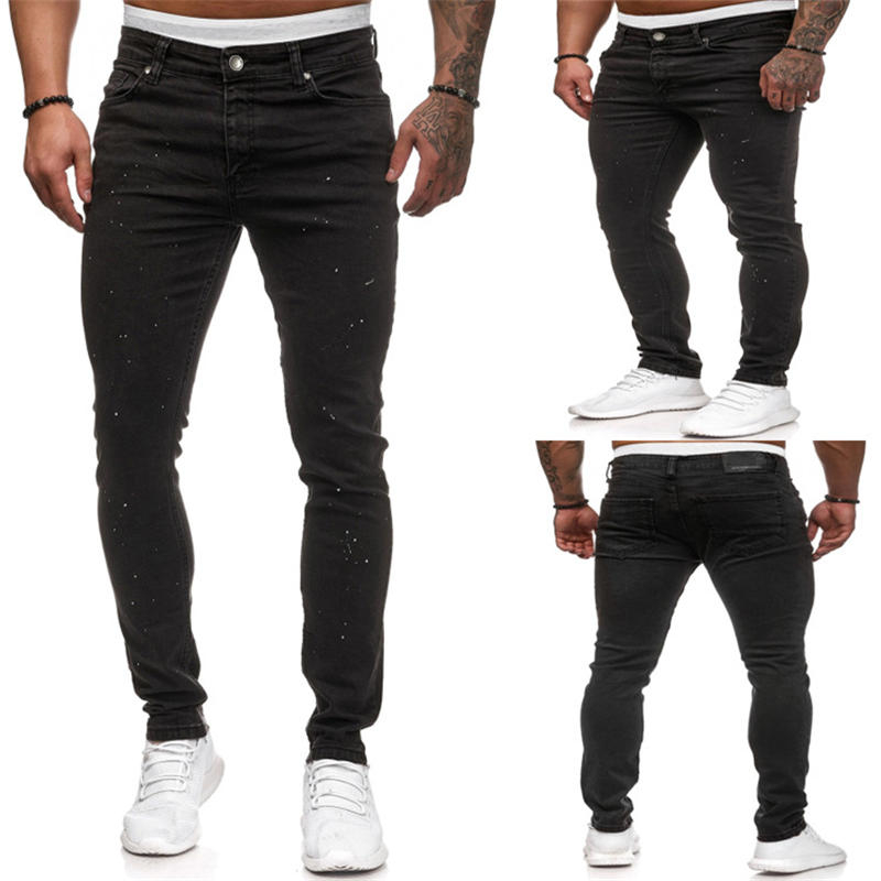 White Dot Mens Designer Jeans Skinny Pure Color Elastic Mens Pants Street Style Jean Males Trousers