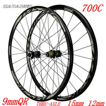 700C Road Wheels Disc Brakes Bicycle Road Wheelset 30mm Alloy RIM Direct-pull Spoke 9mm QR Thru-axle 15mm/12mm