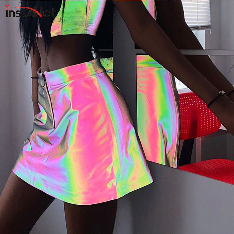 InstaHot Reflective Flash Colorful Skirts Zipper A-Line High Waist Casual Mini Skirts Women Summer Gothic Streetwear Party Skirt